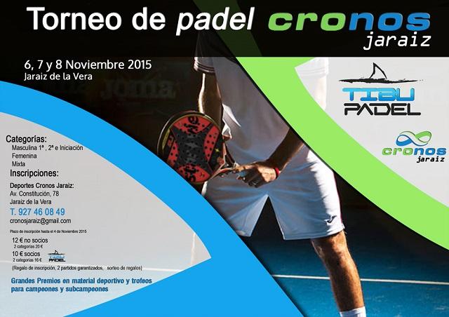 Torneo de Padel Cronos Jaraíz los días 6,7 y 8 de noviembre
