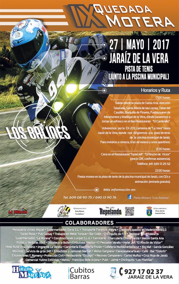 IX Quedada Motera LOS BALINES el día 27 de Mayo en Jaraíz de la Vera